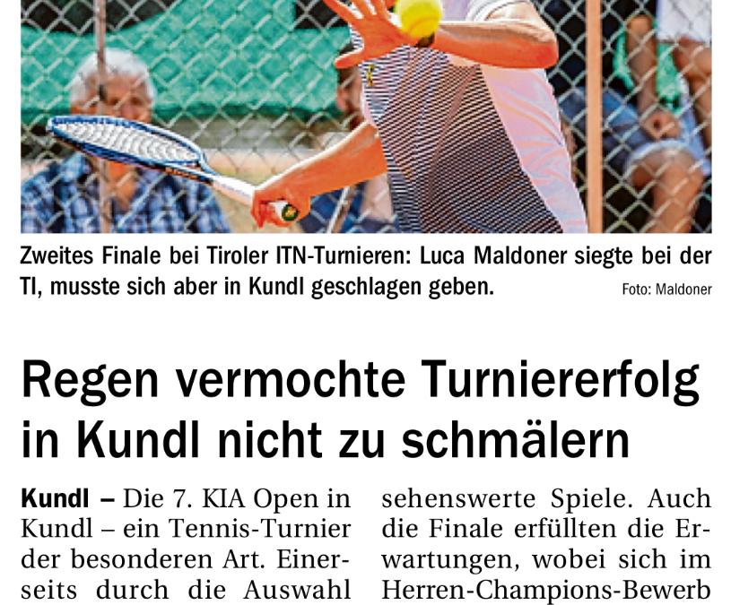 TT 2. September 2020: Regen vermochte Turniererfolg in Kundl nicht zu schmälern